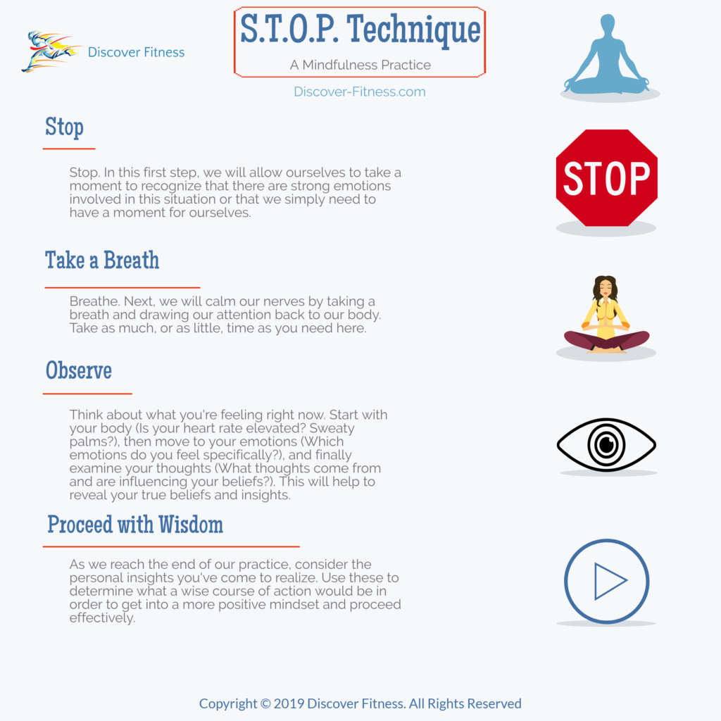 This infographic depicts the multiple steps of the STOP mindfulness technique. Stop to recognize the emotions present, take a breath to bring your focus to your boyd, observe your  byd, emotions, and thoughts to reveal your true emotions, and proceed with wisdom to ensure you make the best, most effective decision going forward.