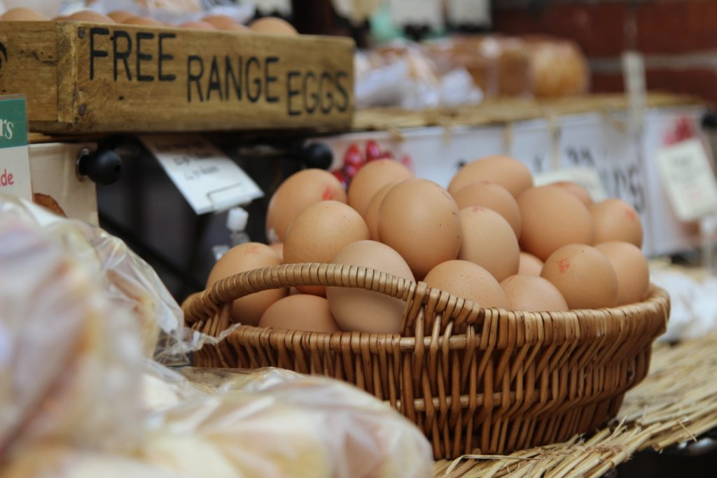 A basket of free range eggs which are a great protein source.